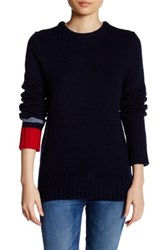 Free City Cable Knit Crew Neck Sweater Blue