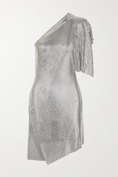 Fannie Schiavoni Rosie One Shoulder Open Back Chainmail Mini Dress Silver