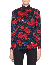 Saint Laurent Button Front Floral Jacquard Silk Classic Blouse Red Blue