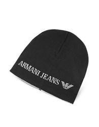 Armani Jeans Solid Wool Blend Men's Beanie Hat Black