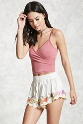 Forever 21 Floral Embroidered Shorts White Multi