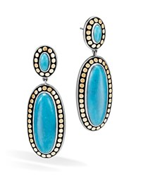 John Hardy Sterling Silver And 18K Bonded Gold Dot Oval Drop Earrings With Turquoise 100 Bloomingdale's Exclusive Blue Gold