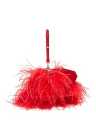 Marques Almeida Marques'almeida Feathered Leather Cross Body Bag Red