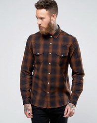 Asos Long Sleeve Western Shirt With Shadow Check In Regular Fit Brown