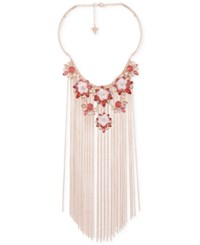 Guess Rose Gold Tone Flower And Chain Fringe Statement Necklace 15 3 Extender Rose Peach