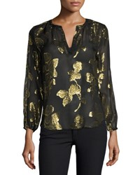 Joie Vashti Metallic Leaf Split Neck Blouse Caviar