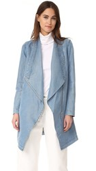 Soia And Kyo Stefie Chambray Drapey Jacket Sea