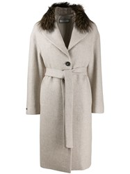 Peserico Belted Single Breasted Coat Neutrals