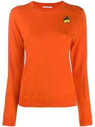 Chinti And Parker Lemon Embroidered Sweater Orange