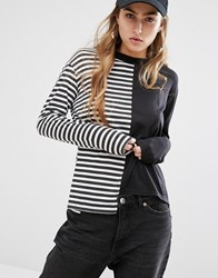 Daisy Street Reconstructed T Shirt In Stripe Black