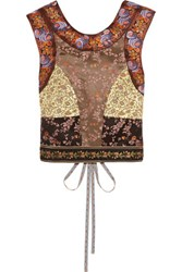 Etro Paneled Cotton And Silk Blend Jacquard Top Gold