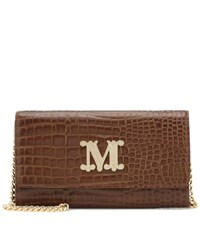 Max Mara Con Croc Effect Leather Shoulder Bag Brown