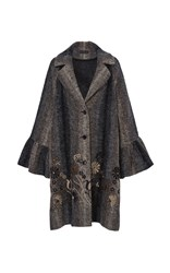 Floral Embroidered Flared Cuff Coat Brown