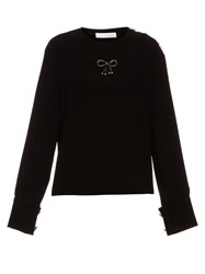 J.W.Anderson Bow Embellished Crepe Top Black