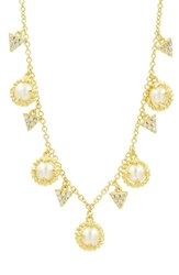Freida Rothman Textured Pearl Charm Necklace Pearl Gold