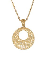 Lord And Taylor 14K Yellow Gold Open Round Mesh Pendant Necklace