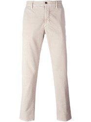 Incotex Pinstriped Straight Leg Trousers Nude And Neutrals