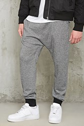 Forever 21 Marled Drop Crotch Joggers Heather Grey Black