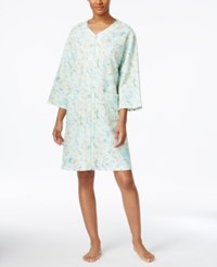 Miss Elaine Printed Knit Zip Front Short Robe Turquoise Floral Scrolls