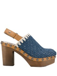 Mou Studded Mules Blue