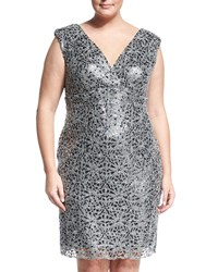 Marina Plus Sleeveless Sequin Cocktail Dress Black Silver