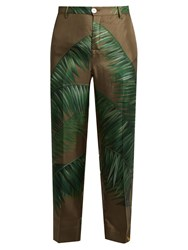 F.R.S For Restless Sleepers Tartaro Palm Print Cropped Silk Twill Trousers Green Print