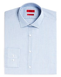 Hugo Mabel Small Broken Stripe Overcheck Sharp Fit Regular Fit Dress Shirt Light Blue