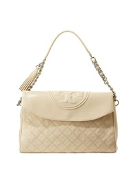 Tory Burch Fleming Distressed Leather Hobo Bag Cream