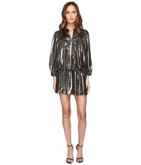 Just Cavalli Long Sleeve Metallic Cinched Drop Waist Dress Black Women's Dress