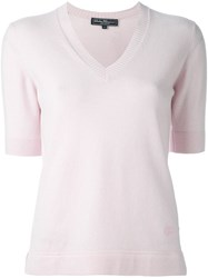 Salvatore Ferragamo V Neck Shortsleeved Jumper Pink And Purple