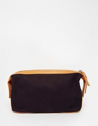 Asos Canvas And Leather Wash Bag With Contrast Trims Navy Tan Blue