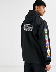 Huf World Tour Anorak Jacket With Arm Print In Black