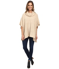 Nydj Cable Cowl Neck Poncho Oatmeal Heather Women's Coat Beige