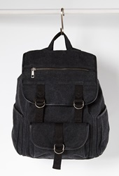 Forever 21 Buckled Flap Front Canvas Backpack Charcoal