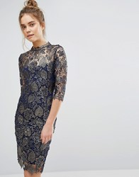Paper Dolls Metallic Lace Pencil Dress With High Neck And 3 4 Sleeve Metallic Navy Gold