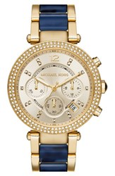 Michael Michael Kors Women's Michael Kors 'Parker' Chronograph Bracelet Watch 39Mm Navy Tortoise Gold