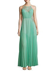 Bcbgmaxazria Misty Lace Blocked Pleated Gown Light Aqua