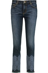 Tory Burch Edith Embroidered High Rise Straight Leg Jeans Dark Denim