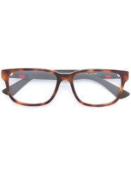Gucci Eyewear Web Trim Rectangle Glasses Brown