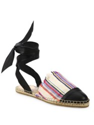 Loeffler Randall Heloise Canvas And Leather Ankle Wrap Espadrille Sandals Multi