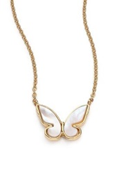 Kate Spade All A Flutter Mother Of Pearl Mini Pendant Necklace Gold White
