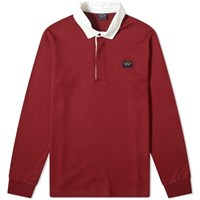 Paul And Shark Contrast Collar Rugby Shirt Burgundy