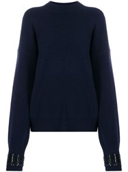 Alexander Wang Embellished Cuff Sweater Blue