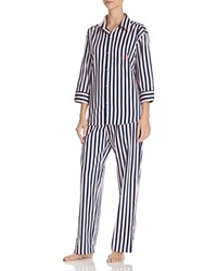Ralph Lauren Classic Sateen Long Pajama Set Blue Red