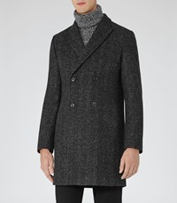 Reiss Basset Mens Double Breasted Coat In White