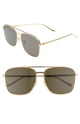 Blanc And Eclare Geneva Large 60Mm Polarized Metal Aviator Sunglasses Gold Grey Gold Grey