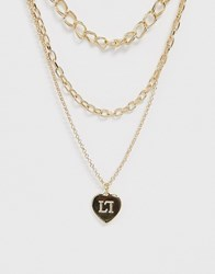 Lipsy Multi Chain Necklace With Heart In Gold Gold