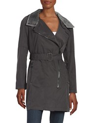 Andrew Marc New York Hooded Trenchcoat Black