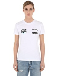 Chiara Ferragni Embroidered Cotton Jersey T Shirt White