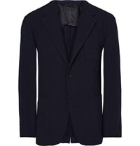 Camoshita Blue Slim Fit Checked Wool Seersucker Blazer Midnight Blue